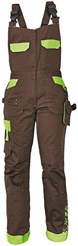 DINOZAVR Yowie Damen Latzhose - Stretch Multi Taschen Moderne Arbeitshose - Braun/Grün 44
