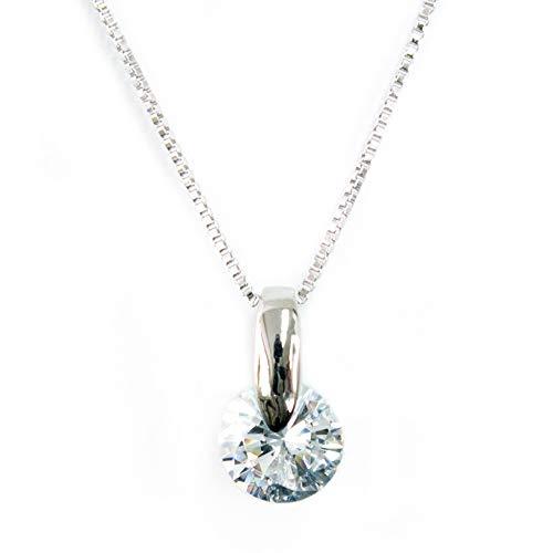 One&Only Jewellery 2ct キュービックジルコニア 1点留め ペンダント ネックレス ダイヤモンドCZ (ホワイト)