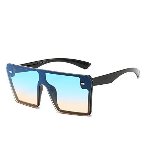 WJTHH Gafas de sol clásicas con protección UV, polarizadas, estilo retro, para hombres y mujeres, gafas de sol rectangulares de gran tamaño, viajes, color azul y amarillo