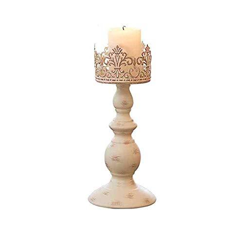 MUMA Bougeoirs Accessoires de dîner aux chandelles Décoration rétro romantique Table de salle à manger Envoyer des bougies (Couleur: Beige) (taille : Small)