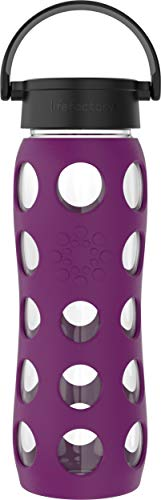 Lifefactory 22-Ounce BPA-Free Glass Water Bottle with Classic Cap and Protective Silicone Sleeve, Plum