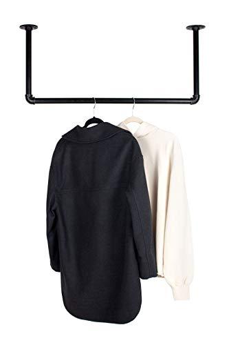 RSR Hangers Kleiderstange Garderobe Industrie Design für Decke | Breite 50 cm x Höhe 30 cm | Garderobenstange | Ankleidezimmer | Schlafzimmer | Garderobe | begehbarer Kleiderschrank