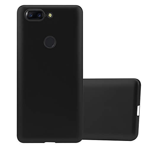 Cadorabo Funda para OnePlus 5T en Metallic Negro - Cubierta Proteccíon de Silicona TPU Delgada e Flexible con Antichoque - Gel Case Cover Carcasa Ligera
