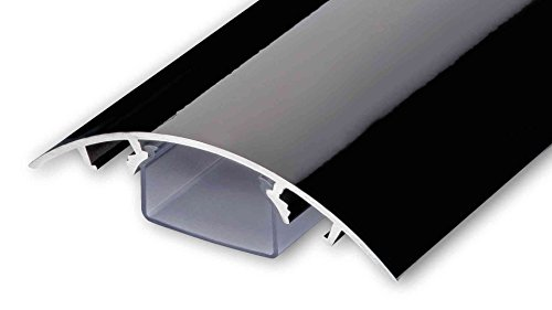 Alunovo, canalina passacavi per TV, in alluminio, laccata, diverse lunghezze, colore nero lucido, Nero, SC90-040