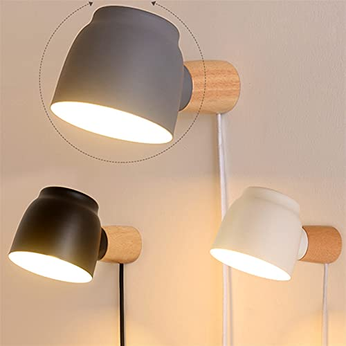 YSJJEFB Lámparas de Pared Dormitorio Light Light 360 ° Gira con Enchufe de Interruptor Línea Abierta Lámpara de Hierro Helada Sombra de lámpara de Madera Maciza Polo E14
