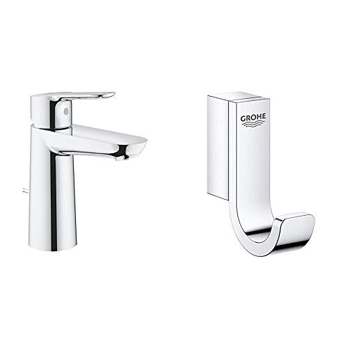 Grohe BauEdge - Grifo de lavabo 1/2', Tamaño M, color cromo (Ref.23758000) + Grohe Selection - Colgador, cromo (41039000)