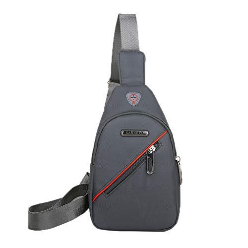 Herren Umhängetasche Schulranzen Nylon Rucksack Vintage Stilvoll Lässige Einfache Reise Strand Messenger Bag(Grau A)