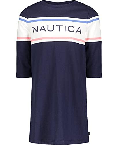Nautica Girls' Long Sleeve Dress, Peacoat 04, 6X