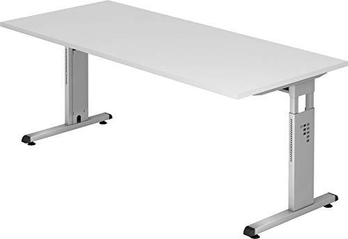 bümö® Stabiler Schreibtisch höhenverstellbar 180 x 80 cm | Bürotisch in Weiß | Büroschreibtisch mit Höheneinstellung | Tisch für Büro in 9 Größen & 7 Dekoren