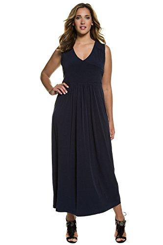 Ulla Popken Damen Kleid mit V-Ausschnitt Partykleid, Blau (Dunkelblau 70), 48