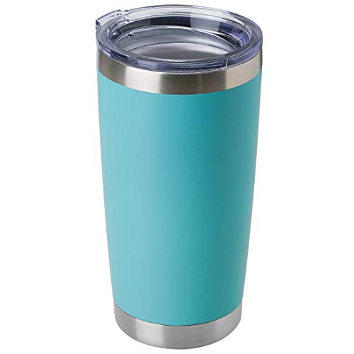 DOMICARE 20oz Stainless Steel Tumbler with Lid, Double Wall Vacuum Insulated Travel Mug, Durable Powder Coated Insulated Coffee Cup,1 Pack, Light Blue