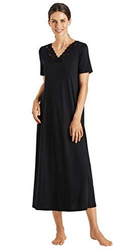 Hanro Nachthemd 1/2 Arm 130 Cm Chemise de Nuit, Noir, S Femme
