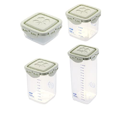 TAMRG Juego de 4 tarros de plástico herméticos con tapa de paja de trigo, caja organizadora para el frigorífico, para cereales, harina, azúcar, pasta, color verde