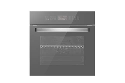 Empava 24 in. Electric Single Wall Oven Convection with 10 Cooking Functions Deluxe 360° ROTISSERIE with Sensitive Touch Control in Silver Mirror Glass Model 2021, 24 Inch
