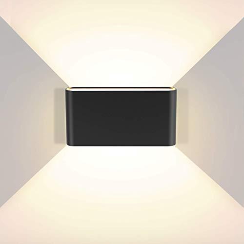 litwlds Apliques de Pared LED 12W Regulable Lámpara de Pared Interior exterior Moderna Luz de Aluminio para Salón Dormitorio Baño[Clase de eficiencia energética A++](Negro 12W)