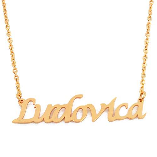 Kigu Ludovica - Collana con nome personalizzato, catena regolabile, in confezione placcata oro 18 ct