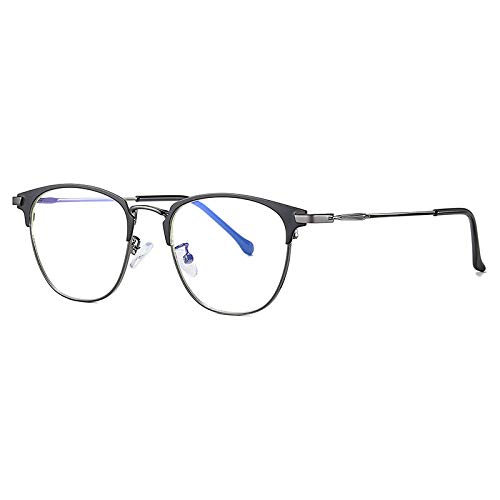 Qier Gafas Bloqueo Luz Azul,Lentes con Montura Metálica para Hombres Y Mujeres, Gafas De Protección UV para Juegos De Computadora De Lectura Antiestrés, Plateado