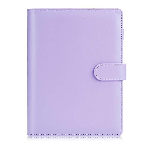 Sooez A5 Notebook Binder, 6 Ring Planner with Stylish Design, Loose Leaf Personal Organizer Binder Cover with Magnetic Buckle Closure, PU Leather Binder for Women with Macaron Colors (Lavender)