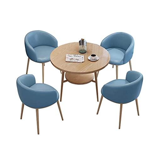 Krzesło kombinowane Kuchnia Krzesła do jadalni, recepcja Biuro sprzedaży Biuro recepcji Negocjacje Mały okrągły stół i kombinacja skórzanych krzeseł (kolor: niebieski)