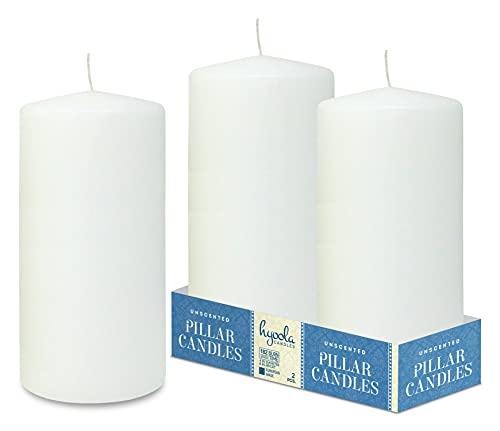 Hyoola White Pillar Candles 4x8 Inch - Unscented Pillar Candles - 2-Pack - European Made