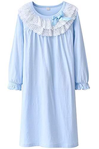 HOYMN Nachthemden für Mädchen Spitze Nachthemd für Herbst-Winter 100% Baumwolle 3-13 Jahre (6-7 Jahre, Blau)