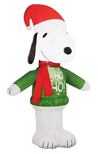 Gemmy Peanuts Snoopy with Santa Hat and Ho Ho Sweater 3.5 Ft Christmas Holiday Airblown Inflatable