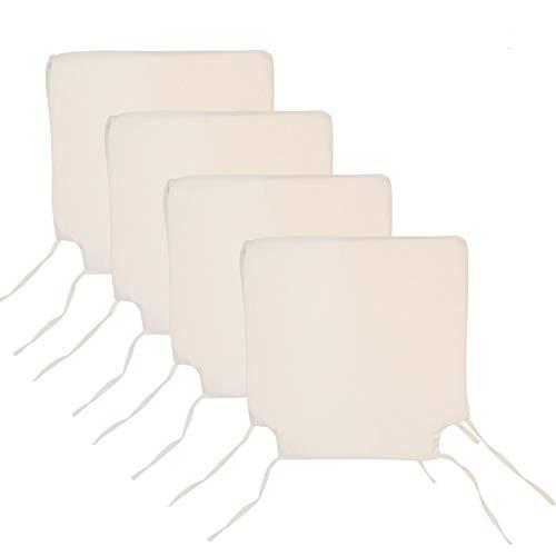 Arcoiris Pack de 4 Cojines de Asiento y Silla, 40x40X3cm,Cojín Silla Loneta, Cómodos, Resistentes, para Cocina, Cuarto, Sala, Jardín, Terraza, Patio, (Espuma, Gris) (Pack 4 Cojines, Crema)
