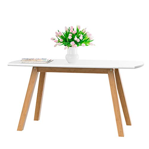 bonVIVO White Coffee Table Franz - Designer Coffee Tables for Living Room and End Table That can be Used as Side Table, Wooden Coffee Table with Bamboo Frame