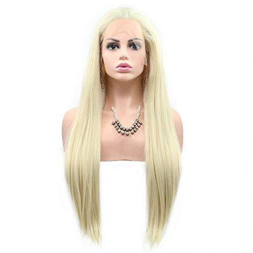 Perruque de couleur naturelle 613#ღ Blond pastel raides, cheveux synthétiques longs faits à la main, perruque transparente à l'avant pour femme, fille, cosplay, fête, mariage perruque 66 cm