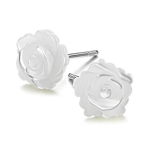 CCIIO 925 Pendientes de Plata esterlina Post Perla Blanca Flor de Rosa Stud 10mm 8mm 10