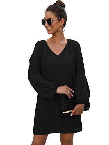 DIDK Damen Einfarbig Kleider Langarm Chiffonkleid Knielang Shortkleid Partykleid Freizeitkleid Businesskleid Schwarz M