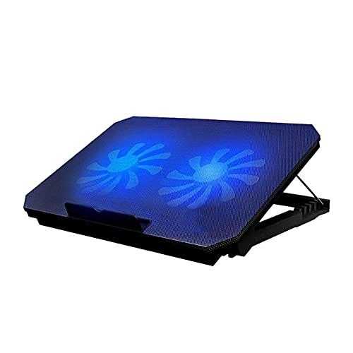KSDCDF Almohadilla de enfriamiento del refrigerador para computadora portátil de 15.6 Pulgadas, 2 Ventiladores tranquilos y Pantalla LCD, Ajuste de Las Alturas, Puerto USB y luz Blusa