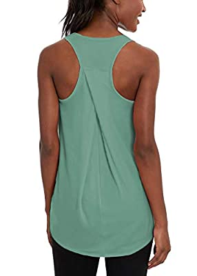 Mippo Workout Tank Tops for Women Yoga Exercise Shirts Running Racerback Athletic High Neck Tank Tops Sleeveless Fitness Active Sports Tops Womens Workout Tops Muscle Tanks for Women Gray Green M