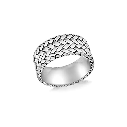 Tuscany Silver Sterling Silver Men's Herringbone Patterned Ring - Size R