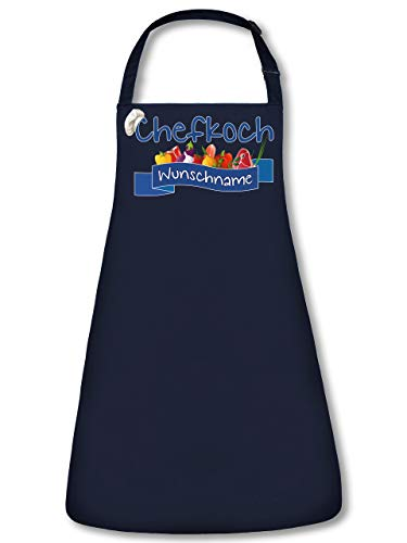 Chefkoch Wunschname Schürze personalisierte Kochschürze mit Name Backschürze Küchenschürze Latzschürze Grillschürze Spruch lustig witzige Geschenke Papa Herren Männer Navy