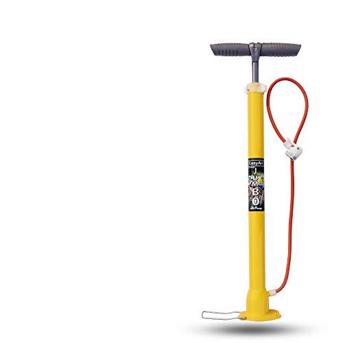 EasyAir Portable Bike Tyre Inflator Bicycle Air Pump (2.3 ft Long, Yellow, Orange, Pink) (Yellow)