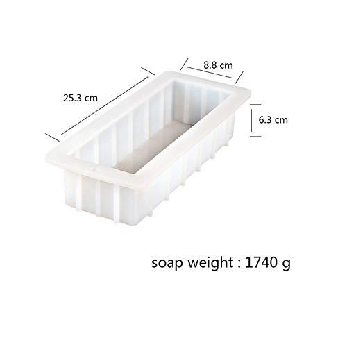Seifenherstellungszubehör Silikonseifenform Flexibel Einfache Entfernung Rechteck Weißes Brot Form Handgefertigte Wirbelseifen Herstellungswerkzeug-B0260-,