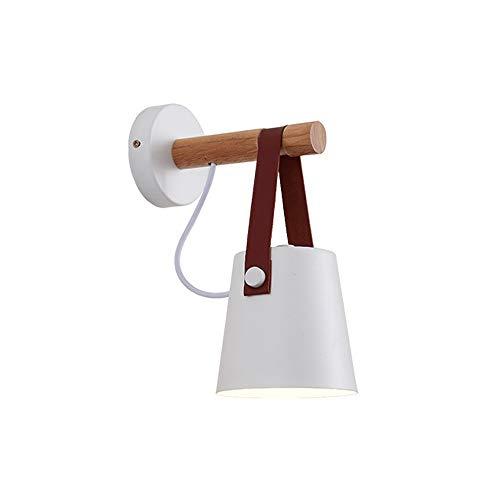 VOMI Lámpara de Pared con Interruptor Enchufe Moderna Minimalista Interior Aplique de Pared E27 Brazo de Lámpara de Madera para Dormitorio Escalera Pasillo Restaurante Cocina Estudio,Blanco