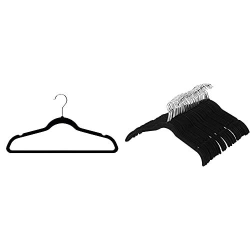 Amazon Basics Kleiderbügel für Anzug / Kostüm, mit Samt überzogen, 50er-Pack, Schwarz & Kleiderbügel für Hemd / Kleid, mit Samt überzogen, 50er-Pack, Schwarz