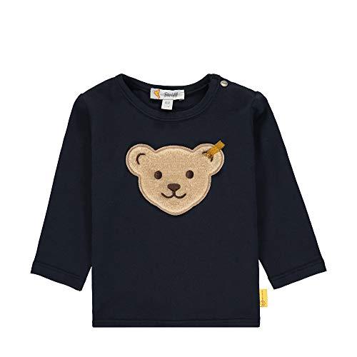 Steiff Baby-Jungen mit Teddybärmotiv Langarmshirt, Blau (Black Iris 3032), 50 (Herstellergröße: 050)