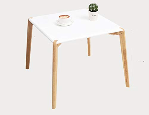 Houten eettafel, eenvoudig te installeren White Desktop Sofa Table Restaurant Café Balkon Leisure Leestafel (Color : White, Size : 55 * 55 * 48CM)