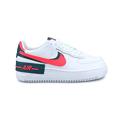 Nike Damen W AF1 Shadow Basketballschuh, White Dk Teal Green Solar Red White White, 38.5 EU