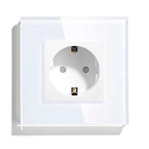 BSEED Enchufes de pared,16A Schuko Enchufe con Panel de cristal Blanco,250V toma de corriente,Simple enchufes de extensión traje para Cocina, Dormitorio, Oficina, Hotel, etc