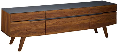 "Modway Scope 71"" Mid-Century Modern Low Profile Entertainment TV Stand, Walnut Gray"