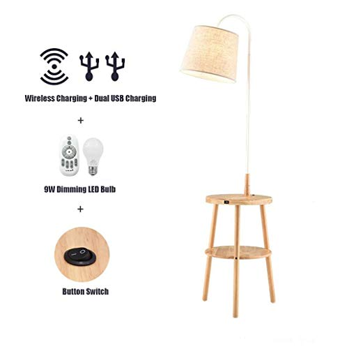 Arc Floor Lamp Double Floor Tafel met Wireless Charging Pad & USB-poort Afstandsbediening Dimbare Permanent Uplight Lamp met 9W Bol for Bedroom Living Room