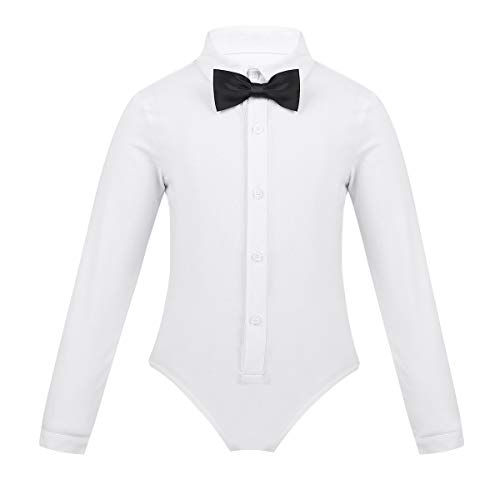 Agoky Boys Ballroom Salsa Latin Dance Shirt Romper Tuxedo Leotard Modern Dancewear Kids Stage Performance Costumes Outfits White 12