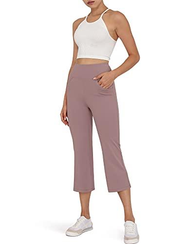 ODODOS Women's High Waist Boot Cut Yoga Capris, Tummy Control Bootleg Workout Capris with Slant Pockets, Lavender, XX-Large