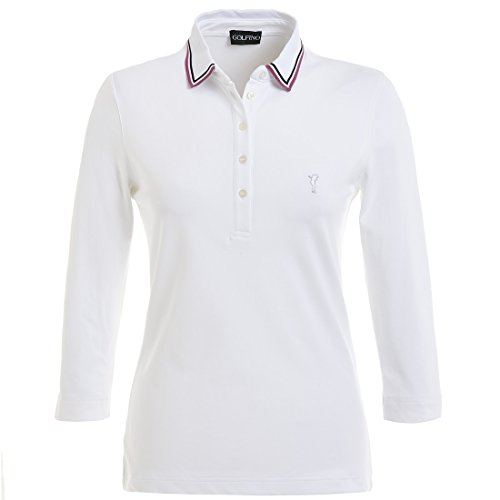 Golfino Dry Comfort Damen Golf-Poloshirt, 3/4-Ärmel, Weiß, weiß, 10, S