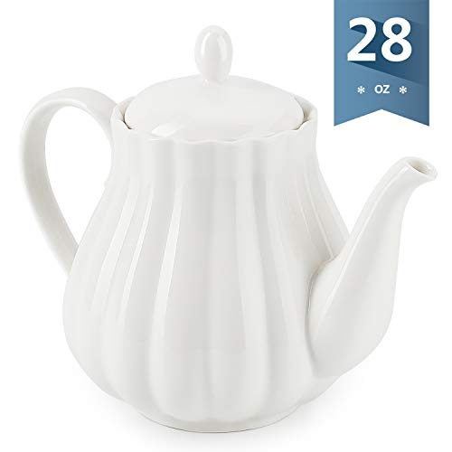 Sweese 222101 Ceramic Teapot Pumpkin Fluted Shape White  28 Ounce