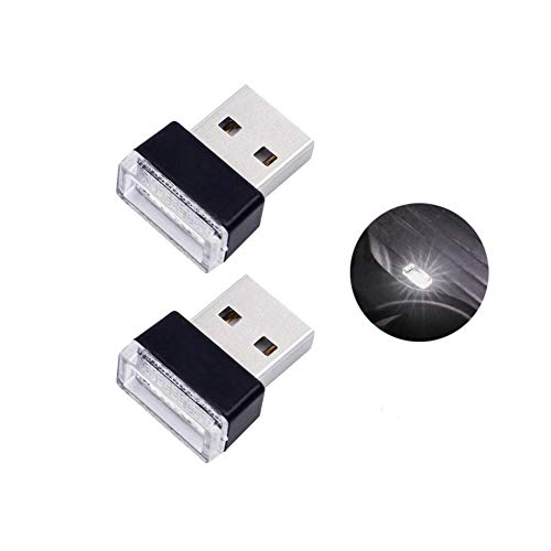 Bello Luna 2Pcs Mini USB Light Car Interior Lampada ambientale per auto Notebook Power Bank - bianco